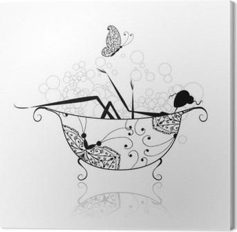 Leinwandbild Frau im Badezimmer mit Schaum für Ihr Design
