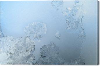 Leinwandbild Frosty Muster an einem Winter Fensterglas