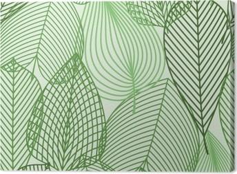 Leinwandbild Frühling grüne Blätter nahtlose Muster
