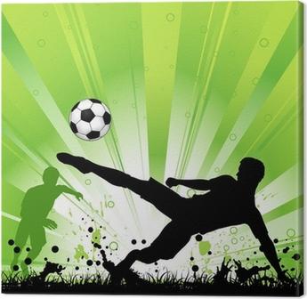 Leinwandbild Fußball-Spieler auf Grunge Hintergrund