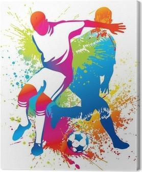 Leinwandbild Fußball-Spieler mit einem Fußball