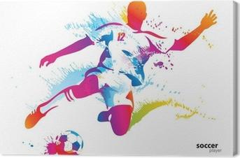 Leinwandbild Fußballer kickt den Ball. Die bunte Vektor-Illustration