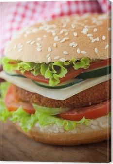 Leinwandbild Gebratenes Huhn oder Fisch Burger-Sandwich