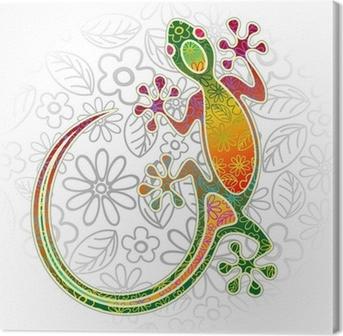 Leinwandbild Gecko Floral Tribal Art