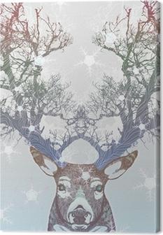 Leinwandbild Gefrorener Baum Horn Hirsch