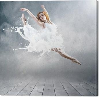Leinwandbild Gehe von Ballerina Kleid mit der Milch