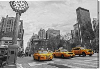 Leinwandbild Gelbe Taxis auf einer New Yorker Straße