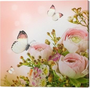 Leinwandbild Gentle Bouquet aus rosa Rosen und Schmetterling