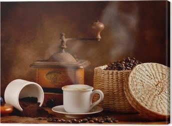 Leinwandbild Gerösteten und gemahlenen Kaffee mit heißem Cappuccino