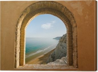 Leinwandbild Gewölbte Fenster an der Küstenlandschaft von einer Bucht