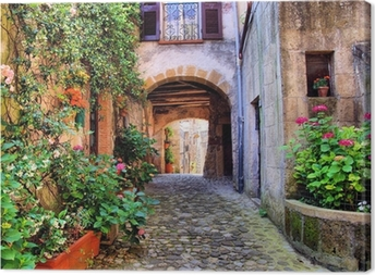 Leinwandbild Gewölbte gepflasterten Straße in einem toskanischen Dorf, Italien