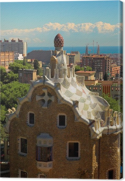 Leinwandbild Gewurz Kuchen Haus Im Park Guell Von Antoni Gaudi