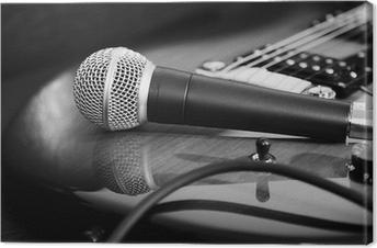 Leinwandbild Gitarre und Mikrofon