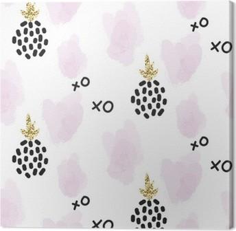Leinwandbild Glitter Skandinavisch Xoxo Ananas Ornament. Vector Gold  Nahtlose Muster Sammlung. Moderne Schimmer Details