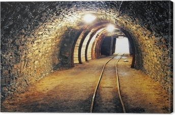 Leinwandbild Gold-Mine unterirdischen Tunnel Eisenbahn