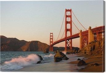 Leinwandbild Golden Gate Bridge in San Francisco bei Sonnenuntergang