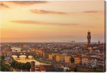 Leinwandbild Goldener Sonnenuntergang über dem Fluss Arno, Florenz, Italien