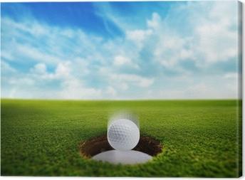 Leinwandbild Golf Ball fällt ins Loch