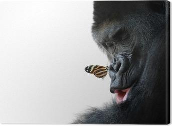 Leinwandbild Gorilla und Schmetterling Tier Freundschaft