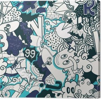 Leinwandbild Graffiti bunten nahtlose Muster
