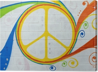 Leinwandbild Graffiti Hippie-Symbol.
