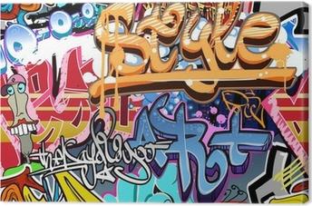 Leinwandbild Graffiti Wand. Urbane Kunst Vektor Hintergrund. Nahtlose Textur