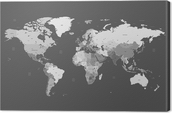 Leinwandbild grau detaillierte weltkarte pixers wir leben um zu ver ndern - Leinwandbild grau ...