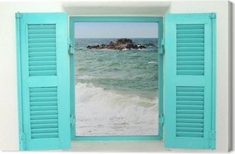 Leinwandbild Griechischen Stil Fenster mit Blick aufs Meer