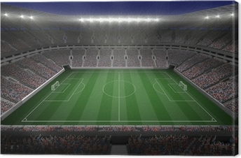 Leinwandbild Große Fußball-Stadion mit Lichtern