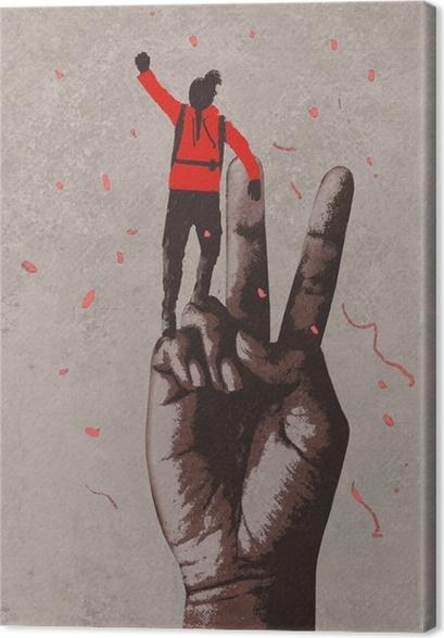 Leinwandbild Große Hand im Siegzeichen und -mann mit dem Arm angehoben, Illustrationsmalerei - Lifestyle