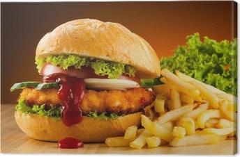 Leinwandbild Großen Hamburger, französisch frites und Gemüse