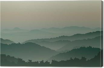 Leinwandbild Grüne Berge im Nebel