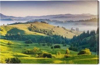 Leinwandbild Grüne Hügel mit Bergen in der Ferne