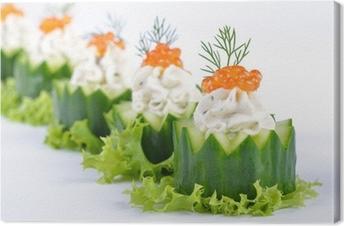 Leinwandbild Gurken-Käsehäppchen mit Kaviar