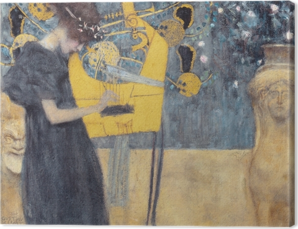 Leinwandbild Gustav Klimt - Die Musik - Reproduktion