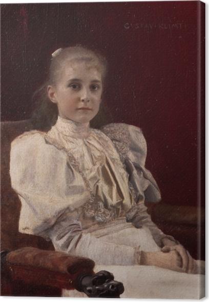 Leinwandbild Gustav Klimt - Sitzendes junges Mädchen - Reproduktion