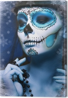 Leinwandbild Halloween Make Up Zuckerschädelentwurfs