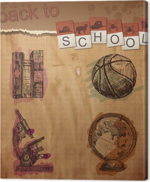 Leinwandbild Hand gezeichnet Schule-Ikonen auf linierten Sketchbook ...