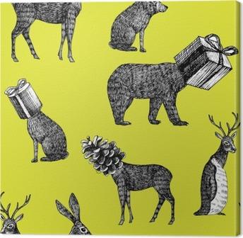Leinwandbild Hand gezeichnet Winter Tiere nahtlose Hintergrund
