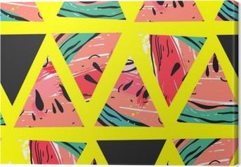 Leinwandbild Hand gezeichnetes nahtloses Muster der Vektorzusammenfassungs-Collage mit Wassermelonenmotiv und Dreieckhippie-Formen lokalisiert auf Farbhintergrund ungewöhnliche Dekoration für die Heirat, Geburtstag, Modegewebe, speichern das Datum.