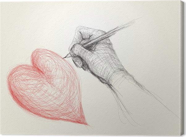 Leinwandbild Hand zeichnen ein Herz / realistische Skizze (nicht ...