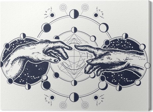 Leinwandbild Hände Tattoo Renaissance. Moor und Adam, Symbol für ...