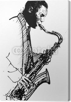 Leinwandbild Handzeichnung Saxophonist auf einem weißen Hintergrund