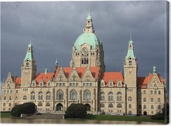 Leinwandbild Hannover Neues Rathaus nach dem regen Sturm in Hannover, Deutschland