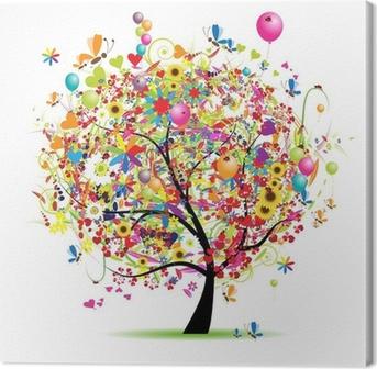 Leinwandbild Happy holiday, funny Baum mit Luftballons