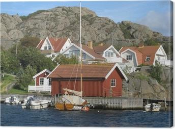 Leinwandbild Häuser am Meer an der Westküste von Schweden