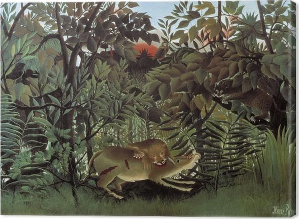Leinwandbild Henri Rousseau - Der hungrige Löwe wirft sich auf die Antilope - Reproduktion