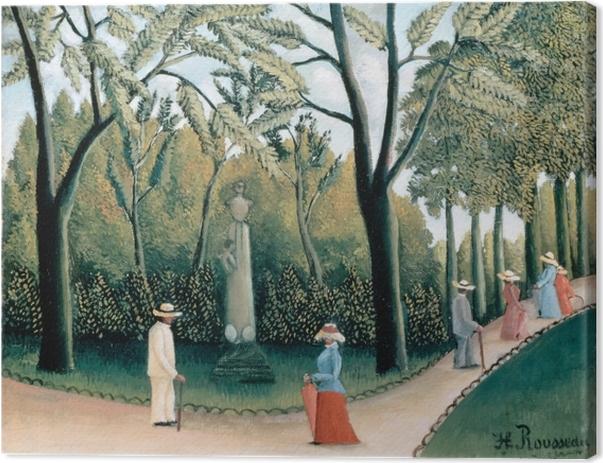 Leinwandbild Henri Rousseau - Der Spaziergang im Jardin du Luxembourg, Denkmal Chopins - Reproduktion