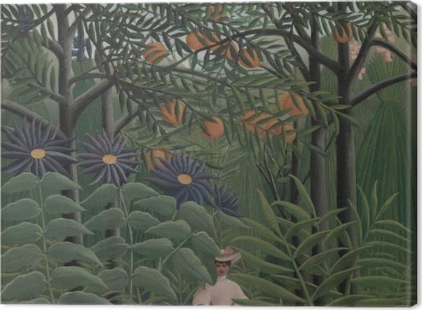 Leinwandbild Henri Rousseau - Frau auf einem Spaziergang durch einen exotischen Wald - Reproduktion
