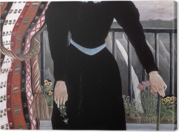 Leinwandbild Henri Rousseau - Frau mit einem Zweig (Frauenbildnis: Madame M) - Reproduktion